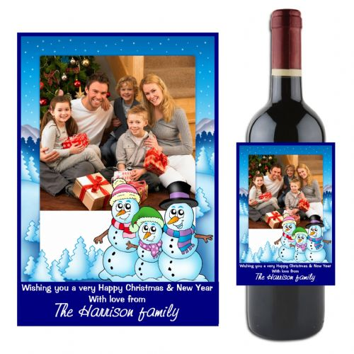 Personalised Happy Christmas Wine / Champagne Bottle PHOTO Label N46